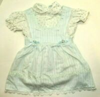 Vintage Cradle Togs Girls Blue Rosebud Pinafore Dress With Lace Bib Apron Collar