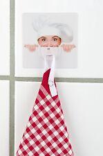 Wandhaken, Static-Loc, Motiv Koch, ohne Bohren und Kleben, Handtuch Haken, 8x8cm