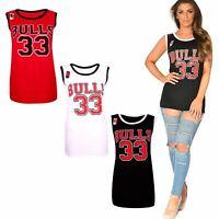 Womens Ladies BULLS 33 American Varsity Basketball Vest Jersey Top Gym T-Shirt