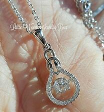 "Sterling Silver Floating DANCING ""Motion"" Diamond cut Love Knot Pendant Necklace"