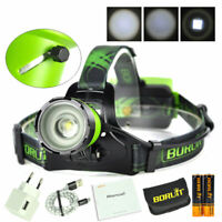 BORUiT 10000lm Zoomable XM-L2 LED Rechargeable Headlamp Hunting Head Torch Light
