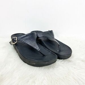 Fitflop 7 Womens Black Leather Rubber Skinny Thong Sandals