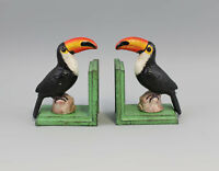 9973141-dss Soporte de Libros Pájaro Tucán Hierro Colorido Rústico