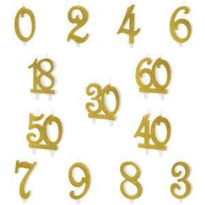 Geburtstagskerzen Zahlen Goldbrokat Tortendekoration Kuchenkerze
