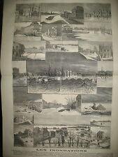 INONDATIONS SAINT-OUEN PARIS MAISON-ALFORT CRETEIL BERCY GRAVURES 1876