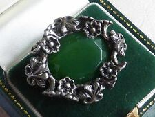 Vintage jewellery silvertone and green signed Miracle brooch