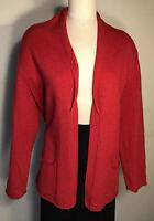 J Jill womens cardigan sweater red merino wool cashmere blend size L