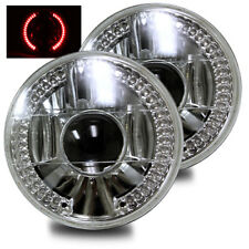 "Red Led Ring Projector Headlights 7"" Round H6014/H6015/H6024 Crystal Diamond"