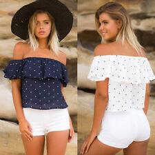 Fashion Women Off Shoulder Crop Tops Summer Loose Casual Shirts T-shirt Blouse
