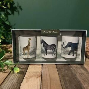 Set of 3 Boxed Vintage Safari Votive Candles - Zebra, Giraffe & Elephant Scented