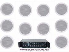 Sistema filodiffusione in kit audio 10 diffusori da incasso amplificatore Radio