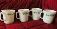 Corning Corelle Holly Days Coffee Mug White Milk Glass Christmas Cup D Handle