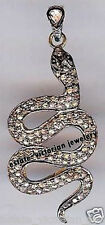 Diamond Silver Snake Pendant Jewelery Victorian 2.05cts Genuine Rose Antique Cut