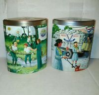 Pair Girl Scout Tins 2004, 2005 Ashdon Farms Girl Scout Promise 1940s 1970s