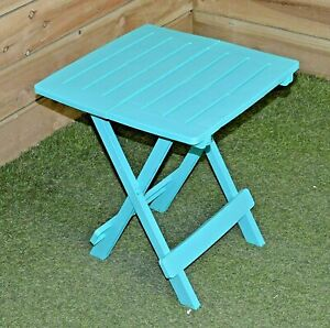 Turquoise Folding Table Portable Plastic Outdoor Camping Garden Party BBQ44x44cm