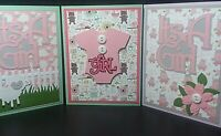 Lot of 3 Handmade Baby Girl Celebration Greeting Cards