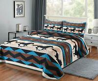 QUILT QUEEN BLANKET WITH 2 PILLOW SHAMS SOUTHWEST WILD HOR