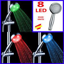 DUCHA 8 LEDS 3 colores Cambio de color segun la TEMPERATURA del agua Alcachofa