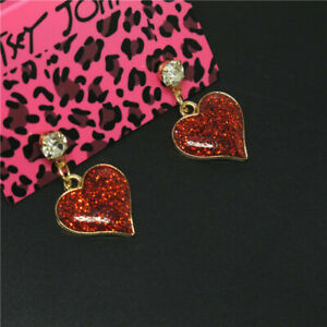 BETSEY JOHNSON'S GOLD FILLED PLUMP RED SPARKLING LOVE HEARTS TOPAZ STUD EARRINGS