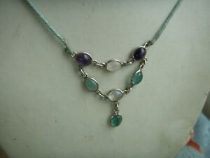 Fine Sterling Silver Cabochon Cut Amethyst, Moonstone, Flurite Pendant Necklace