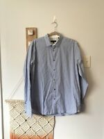 Ted Baker 5 Shirt XL Mens Button Up Down Blue White Gingham Check Top