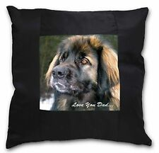 More details for leonberger dog 'love you dad' black border satin feel cushion cover , dad-68-csb