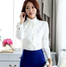 Black/White High Neck Blouse Women Vintage Victorian Ruffle Chiffon Career Shirt