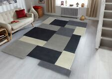 Modern Contemporary Grey Abstract Collage Blocks Luxery Rug 120x180 Wool