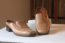 Mephisto Air Relax Tan Brown Leather 1 1/2 Inch Heel Mules US 7 Made In Portugal