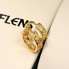 Women Earrings Hollow Out Hoops 18k Yellow Gold Filled 14mm Fashion Jewelry HOT