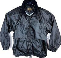 Eddie Bauer Black Nylon Jacket Men's Size L Acrylic Knit