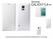 Samsung Galaxy S5 Mini Bianco Flip Case vera EF-FG800BWEG NUOVO + SPEDIZIONE GRATUITA