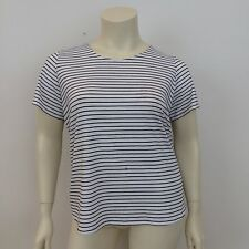 George Ladies White Black Striped Open Tie Back Short Sleeved T-Shirt UK Size 18