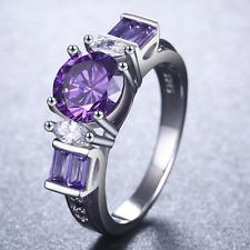 Fashion Women Round Cut 2.45ct Amethyst 925 Silver Wedding Ring Size 9