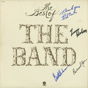 THE Band(Bob Dylan)SIGNED VINYL Best Of Hudson, Levon Helm, Rick Danko, Bell