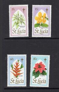 St Lucia 1988 Christmas Flowers Poinsettia Balissier SG 1008-1011 MNH