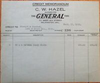 Wilmington, DE 'General Tire' 9/1929 Letterhead / Billhead - Delaware Del