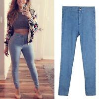 Women High Waist Stretch Jeans Denim Skinny Pants Slim Pencil Trousers Fashion