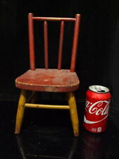 ANTIQUE PAINTED MUSTARD AND RED DOLL/CHILD COUNTRY FOLK ART SIDE CHAIR