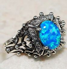 1CT Blue Fire Opal 925 Solid Sterling Silver Filigree Ring Jewelry Sz 8, F1-9