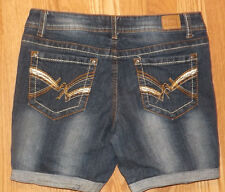 LEI ASHLEY LOW RISE SIZE 7 SHORT BOOT ROLLED UP STRETCHY WOMENS BLUE JEAN SHORTS