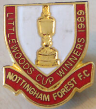 NOTTINGHAM FOREST 1987 LITTLEWOODS CUP WINNERS Badge Brooch pin Gilt 23mm x 26mm