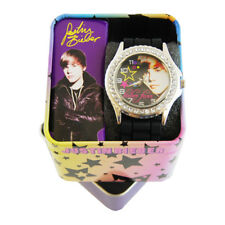 Justin Bieber Black Band Rubber Strap Round Face Watch