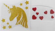 bm859 IRON ON TRANSFER glitter foil gold UNICORN HEAD stars hearts 3.9 inches