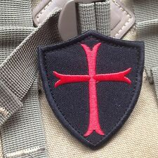 Knights Templar Cross 3x2.5 '' Shield Military ARMY EMBROIDERED PATCH /BLK
