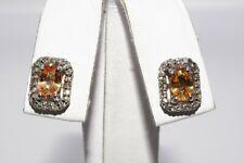 $1,200 1.45CT NATURAL ORANGE SAPPHIRE & DIAMOND HALO EARRINGS 14K WHITE GOLD