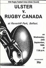More details for ulster v canada 24 sep 1986 ravenhill, belfast, northern ireland rugby programme