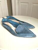 Auth NICHOLAS KIRKWOOD Beya Suede Loafers Shoes Light Blue Size 38