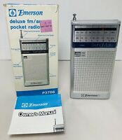 Emerson SwingMate Model P3766A AM/FM Transistor Radio Silver Tested New Battery