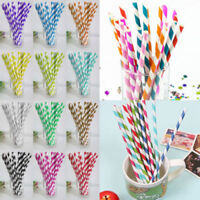 100PCS Biodegradable Paper Drinking Straws Striped Birthday Party Wedding Decor*